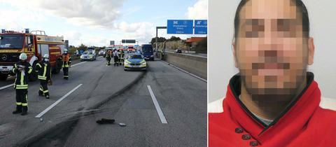 Collage: Unfallort auf A66, gesuchter Raser