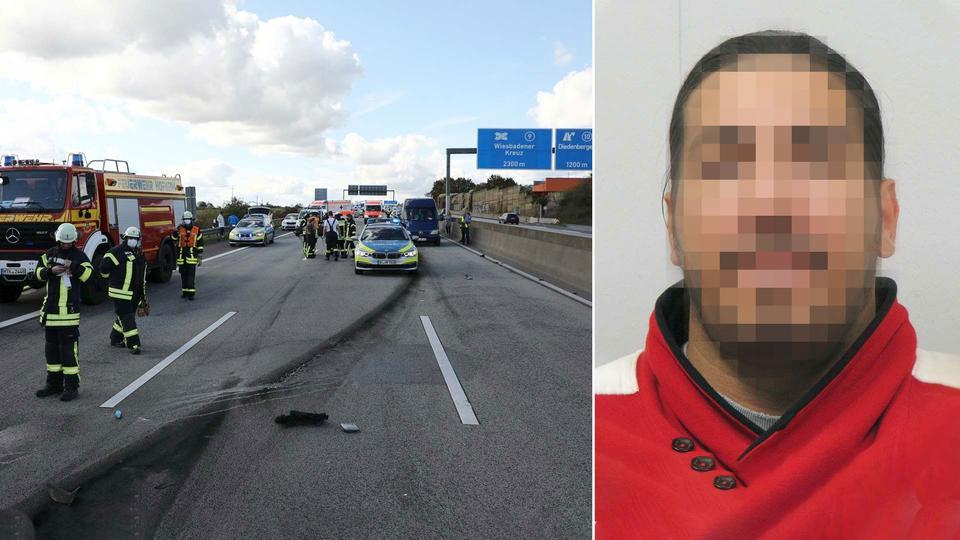 Zwei Bilder in Kombination: 1. Unfallort auf A66 2. Portrait des gesuchten Rasers