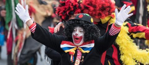 Clown auf dem Frankfurter Fastnachtsumzug