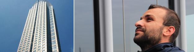 Fensterputzer am Messeturm