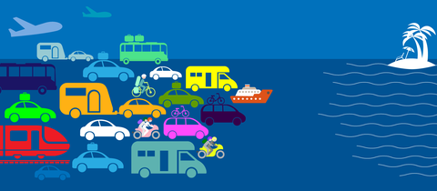 Die Grafik zeigt viele Verkehrsmittel im Piktogrammstil, wie sie in die Ferien fahren.