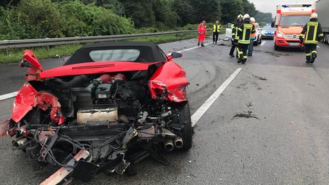 Ferrari-Unfall auf der A5