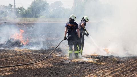 Feuerwehrleute auf einem brennenden Feld