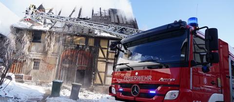 Das ausgebrannte Gebäude in Hofgeismar
