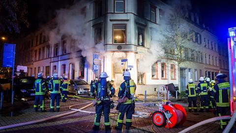 Brennendes Wohnhaus in Wiesbaden-Westend