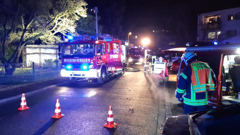 Ein Feuerwehrauto im Einsatz.