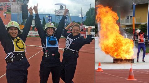 Die Feuerwehr-Frauen aus Nidderau-Eichen freuen sich über Gold.