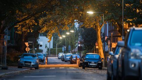 Leere Straße in Frankfurt