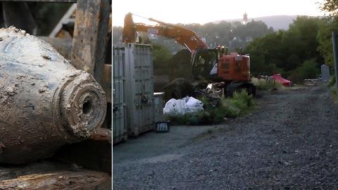 Eine Fliegerbombe aus dem Zweiten Weltkrieg wurde auf der Dillenburger Deponie entdeckt.