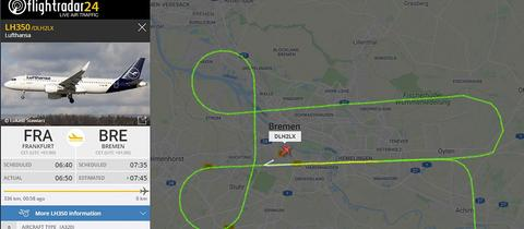 Anflugroute des Lufthansa-Flugs von Frankfurt nach Bremen