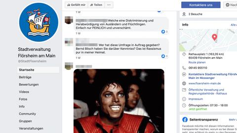 """Screenshot des Facebook-Auftritts der Stadt Flörsheim. Ein Eintrag schreibt unter anderem """"Das ist Rassismus pur in meiner Heimat."""""""