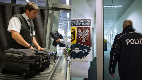 Gepäckkontrolle und Polizeistation.