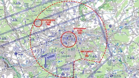 Karte der Flugsicherung zur Einschränkung des Luftraums während des Einheitswochenendes