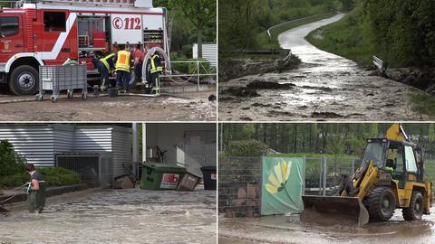 Feuerwehreinsatz in Mühltal, Schlammlawine, Bagger beim Aufräumen, Überschwemmung hinter Gartencenter (im Uhrzeigersinn)