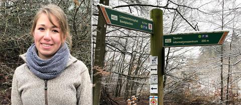 Bildcollage: Försterin Carolin Pfaff - Wegweiser mit Wanderwegen im Taunus