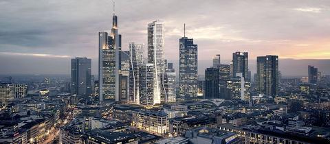 So sollen sich die neuen Hochhäuser in Frankfurt nach ihrer Fertigstellung in die Skyline einreihen.