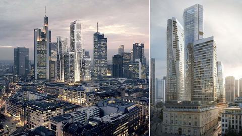 """Kombo aus zwei Entwurfsansichten: die geplanten Hochhäuser, eingebettet in die Frankfurter Skyline und die Hochhäuser """"four frankfurt"""" in Großaufnahme."""