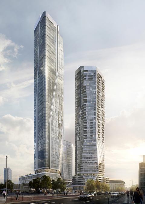 Simulation der geplanten neuen Hochhäuser in Frankfurt.