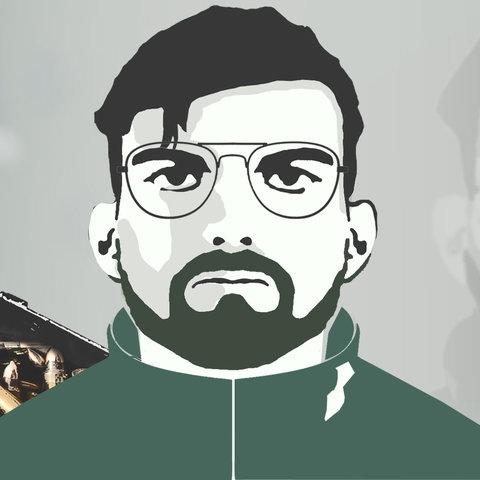 Illustration die abstrahiert Franco A. in seinem Verkleidung als Flüchtender zeigen soll. Im Hintergrund sind eine Kiste mit Waffen und das Bundeswehrkreuz zu sehen.