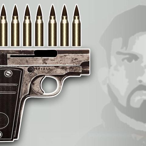 Illustration, die eine Pistole mit Munition im Vordergrund und im Hintergrund ein abstrahiertes Gesicht von Franvo A. nebst Bundeswehrkreuz zeigt.