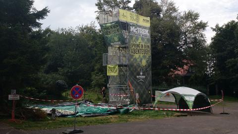 Der Free Fall Tower auf dem Hoherodskopf am Dienstag.