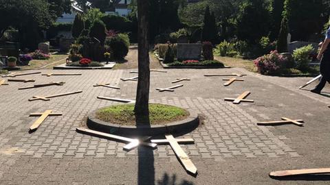 Kreuze liegen auf dem Boden um einen Baum.