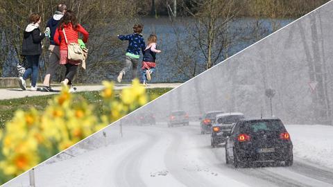 Spaziergänger an der Fulda in Kassel bei Sonnenschein, Autos im Schneetreiben im Taunus