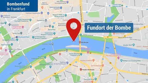 Die Karte zeuigt den Fundort der Bombe im Main in der Näher der Alte Brücke.