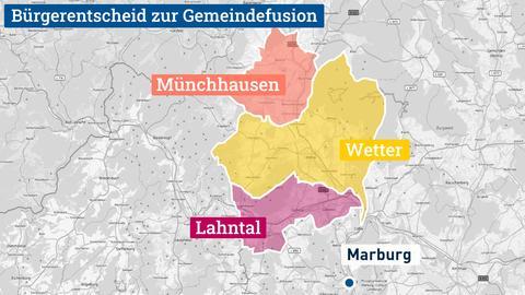 """Die Karte zeigt die Gemeinden Lahntal, Münchhausen und Wetter - eingefärbt in gelb, lachs und pink - auf einem Kartenausschnitt von Mittelhessen in schwarz-weiß. Darüber steht """"Bürgerentscheid zur Gemeindefusion""""."""
