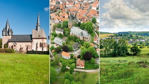 Drei Fotos der Gemeinden Lahntal, Wetter, Münchhausen - mal in malerischer Landschaft, mal nur die Gemeindekirche abgebildet.