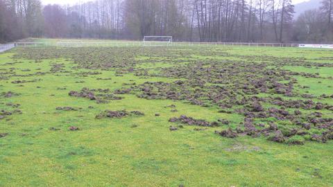 Der zerstörte Fußballplatz in Herborn-Burg.