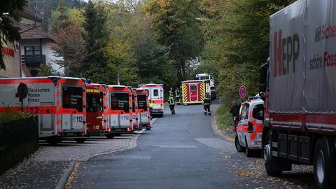 Rettungskräfte am Einsatzort in Bad Soden-Salmünster