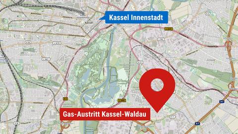 Die Karte zeigt den Ort in Kassels Südosten, an dem Gas ausgetreten ist