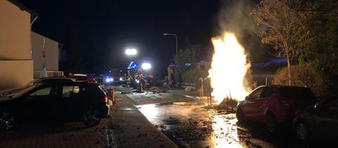 Feuer an einer Gasleitung