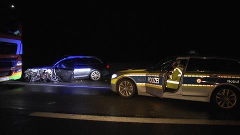 Polizeieinsatz wegen eines Geisterfahrers auf der A7 nahe Bad Hersfeld.