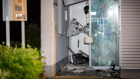 Zerstörter Geldautomat in Wiesbaden