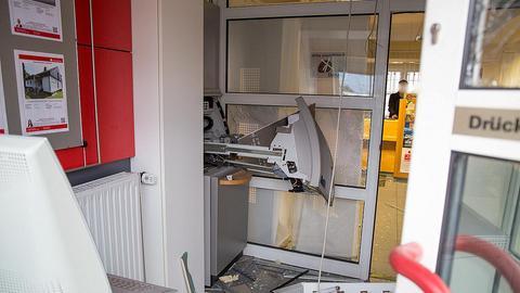 Gesprengter Geldautomat in Sparkasse-Filiale in Fulda