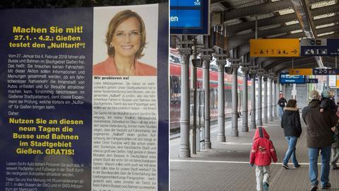Fake-Flugblatt zum kostenlosen Bahnfahren und Gießener Hauptbahnhof