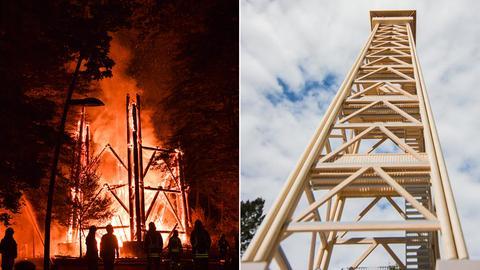 Collage: Goetheturm im Feuer und Modell für neuen Turm