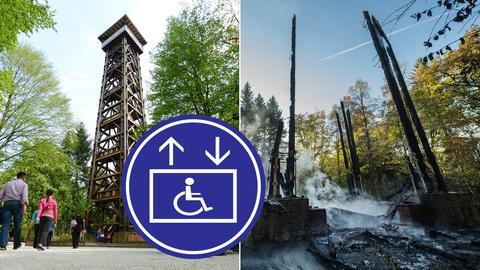 Collage: Alter Goethturm, abgebrannter Turm