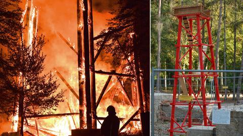 Collage: der brennende Goetheturm im Frankfurter Stadtwald, ein Miniaturmodell des Wahrzeichens