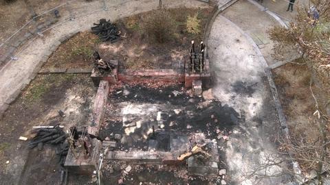 Die Reste des abgebrannten Goetheturms von oben