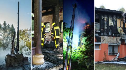 Brände am Goetheturm, am chinesischen Pavillon, auf dem Atzelberg und an der Waldorf-Kita (v.l.).