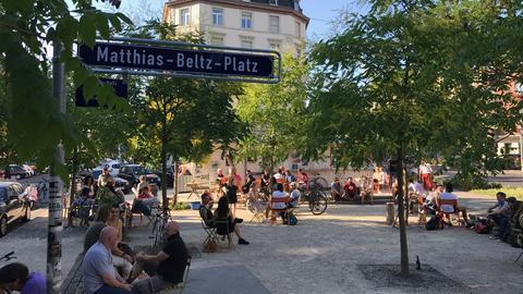 Blick auf den Matthias-Beltz-Platz in Frankfurt