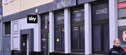 Fassade der Shisha-Bar Midnight, des ersten Tatorts des Anschlags von Hanau