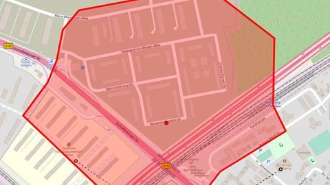 Der Evakuierungsbereich in Hanau