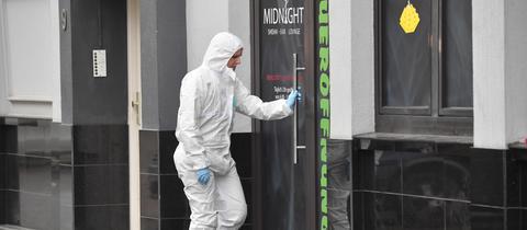 Ermittlungen an einem der Tatorte in Hanau