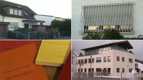 Wohnhaus von Sylvia D., Bücher mit den niedergeschriebenen Träumen der Sektenführerin, Zentrale der Filmfirma Aeon in Hanau