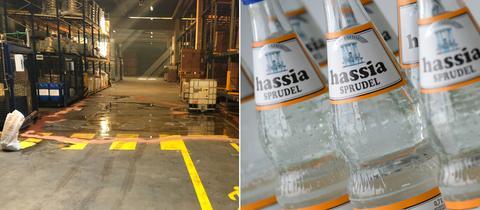 Bildkombo Hassia-Flaschen, ausgelaufene Säure