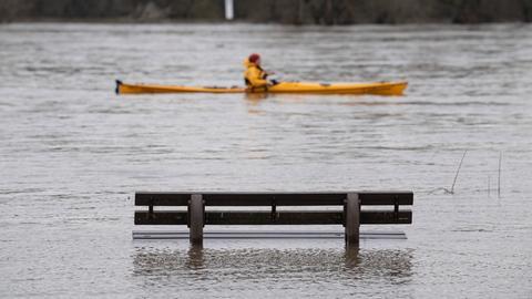 Auf Augenhöhe: An einer überfluteten Bank am Rhein in Hattenheim fährt ein Kanufahrer vorbei